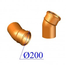 Отвод ПВХ для наружной канализации 200х30 гр.