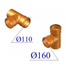Тройник ПВХ для наружной канализации 160х110х87 гр.