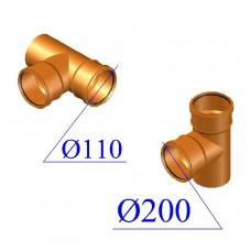 Тройник ПВХ для наружной канализации 200х110х87 гр.