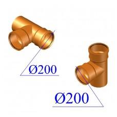 Тройник ПВХ для наружной канализации 200х200х87 гр.