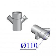 Крестовина одноплоскостная ПВХ для внутренней канализации 110/110х45 гр