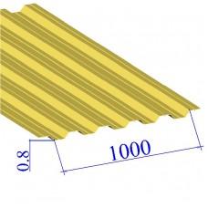 Профнастил окрашенный RAL 1018 НС35 0.8х1000