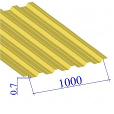Профнастил окрашенный RAL 1018 НС44 0.7х1000