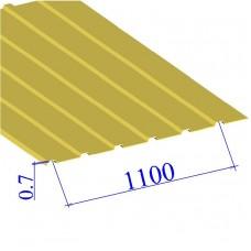 Профнастил окрашенный RAL 1018 С10 0.7х1100
