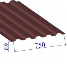 Профнастил окрашенный RAL 3005 Н75 0.9х750