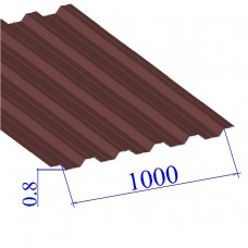 Профнастил окрашенный RAL 3005 НС44 0.8х1000