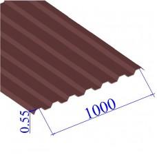 Профнастил окрашенный RAL 3005 С21 0.55х1000