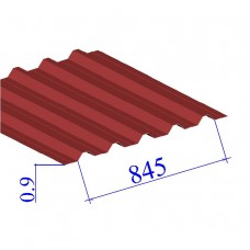 Профнастил окрашенный RAL 3011 Н60 0.9х845