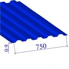 Профнастил окрашенный RAL 5005 Н75 0.9х750