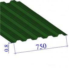 Профнастил окрашенный RAL 6002 Н75 0.8х750