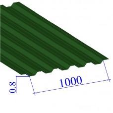 Профнастил окрашенный RAL 6002 НС35 0.8х1000