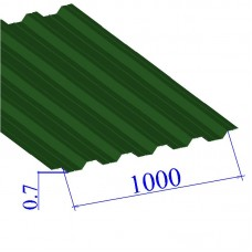 Профнастил окрашенный RAL 6002 НС44 0.7х1000