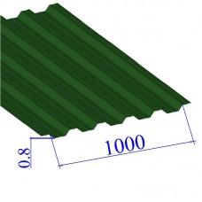 Профнастил окрашенный RAL 6002 НС44 0.8х1000