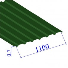 Профнастил окрашенный RAL 6002 С20 0.7х1100