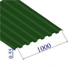 Профнастил окрашенный RAL 6002 С21 0.55х1000